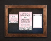 Floral Baby Shower Invitation Kit, Pink and Black Baby Shower Invite, Luxury Invitation Set