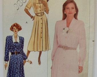 Vintage Butterick 1980s 1990s Dress Pattern 4559, Big Shoulders, Pleats, Sizes 12 14 16 Bust 34 36 38, Unused, Uncut