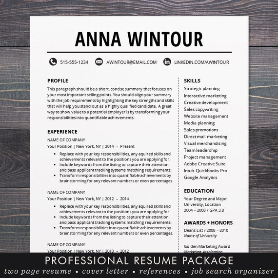 resume templates modern modern resume template cv template for word mac or pc 24466 | il 570xN.987936350 bbcn