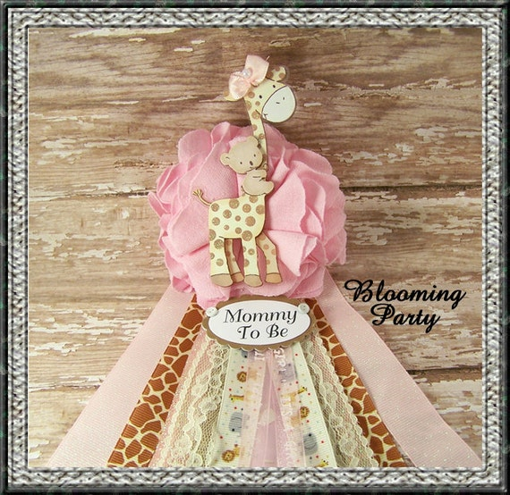 Safari Baby Shower Corsage: Pink Giraffe Mommy To Be Corsage Pink Safari Baby By