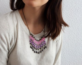 Beaded Bib Necklace Gradient Necklace Boho Bib Necklace Fringe Necklace Tribal Bib Necklace Short Tribal Necklace Bead Bib Necklace Bohemian