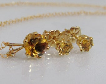 Citrine Necklace and Earring Set, Gold Filled Citrine Jewelry Set, Citrine Gemstones, November Birthstone, Citrine Layering, Citrine Posts