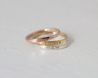 20% OFF- Dainty Engraved Name Ring- Stackable Rings- Personalized Name Ring- Stackable thin band- Mother Gift- Bridesmaid Gift