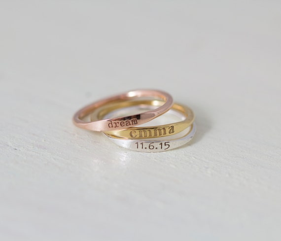 20 off dainty engraved name ring stackable rings. Black Bedroom Furniture Sets. Home Design Ideas