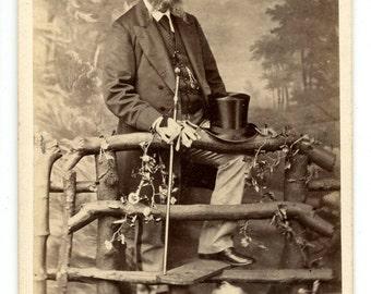 1870s Man & Dog CDV Photo Carte de Visite Antique Vintage Victorian Terrier Fashion Top Hat