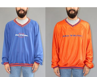 90s NO FEAR Reversible Vneck Pullover Jersey - 90s Rave - 90s Jersey - 90s Skater Jersey - XL
