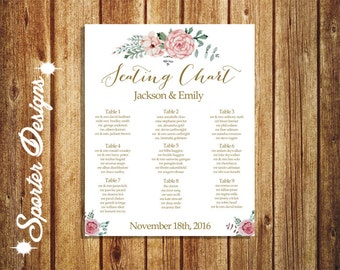 Printable Seating Chart - Wedding Seating chart - Gold & Floral Seating Chart - 16x20 -DIGITAL