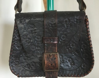 70's Tooled Leather Bag, Chocolate Brown, Buckle Closure, Flower Design, Size Small