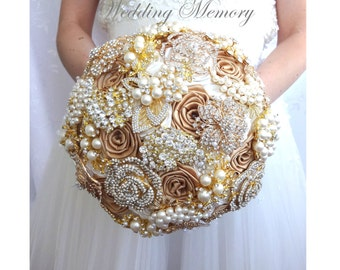 Ivory and gold brooch bouquet. Wedding bridal broach boquet full jeweled, crystal bling gold bouqet