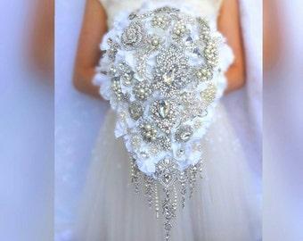 White or ivory teardrop cascading BROOCH BOUQUET. hydrangea flowers bridal waterfall bling crystal Great Gatsby bouqet