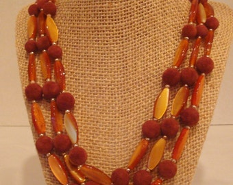 Vintage Japan Butterscotch Lucite Oval Brown Felt Beads Three Strand Necklace