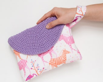 Crasty Flap/ Alfa / Summer pouch for her in a cotton fabric with zebra and changeable crochet flap