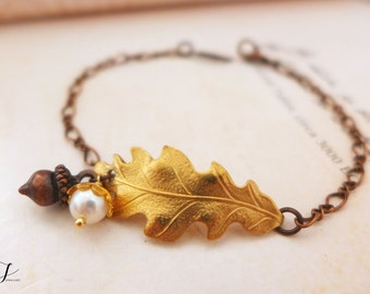 Acorn Bracelet, Acorn Jewelry, Autumn Fall Bracelet, Oak Leaf Bracelet, Natural Bracelet, Bridesmaid Bracelet, Rustic Wedding Gift for Bride