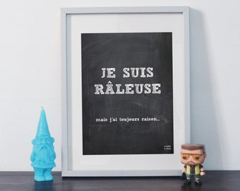 Poster Je suis parfaite (I'm perfect in french) blackboard humor fun message