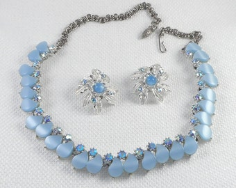 Vintage 50's Judy Lee Blue Thermoset Plastic Necklace and Earrings Set with AB Stones Judy Lee Demi Parure in Blue Vintage Jewelry Set