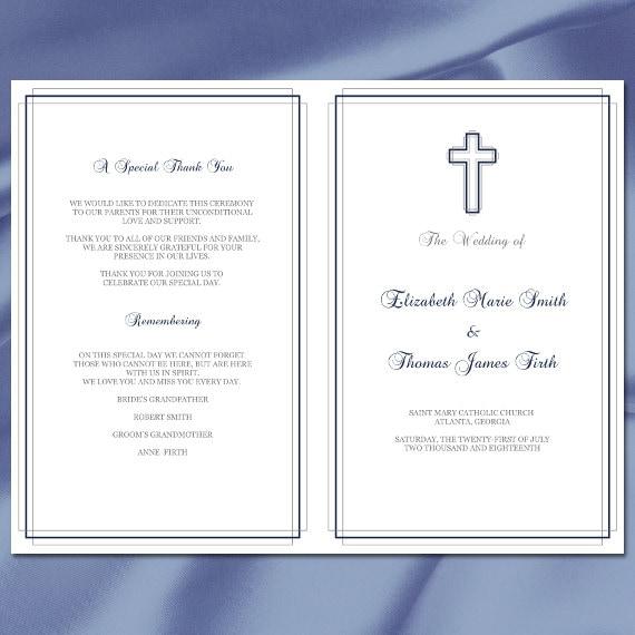 Catholic Wedding Ceremony Program: Catholic Wedding Program Template Diy Navy And Silver Elegant