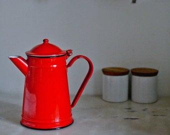 Vintage red enamel coffee pot