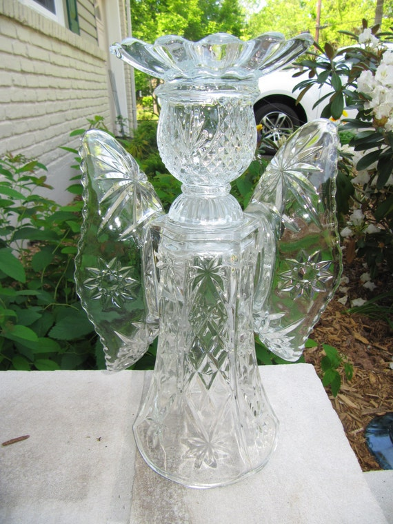 Garden glass angel glass angel angel sculpture upcycled for Recycled glass garden ornaments