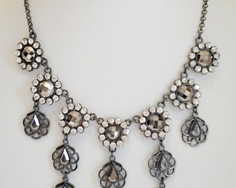Dark Grey Rhinestones Necklace / Cascade Crystal Clear Rhinestones Bib Necklace.