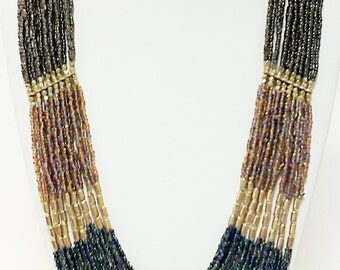 Brown, Copper, Blue and Gold Long Statement Necklace / Multi Strand Necklace.