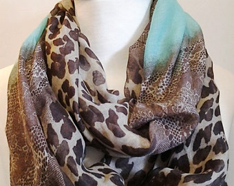 Brown, Camel and Mint Leopard Animal Print Infinity Scarf / Fabric Scarf / Gift for Her.