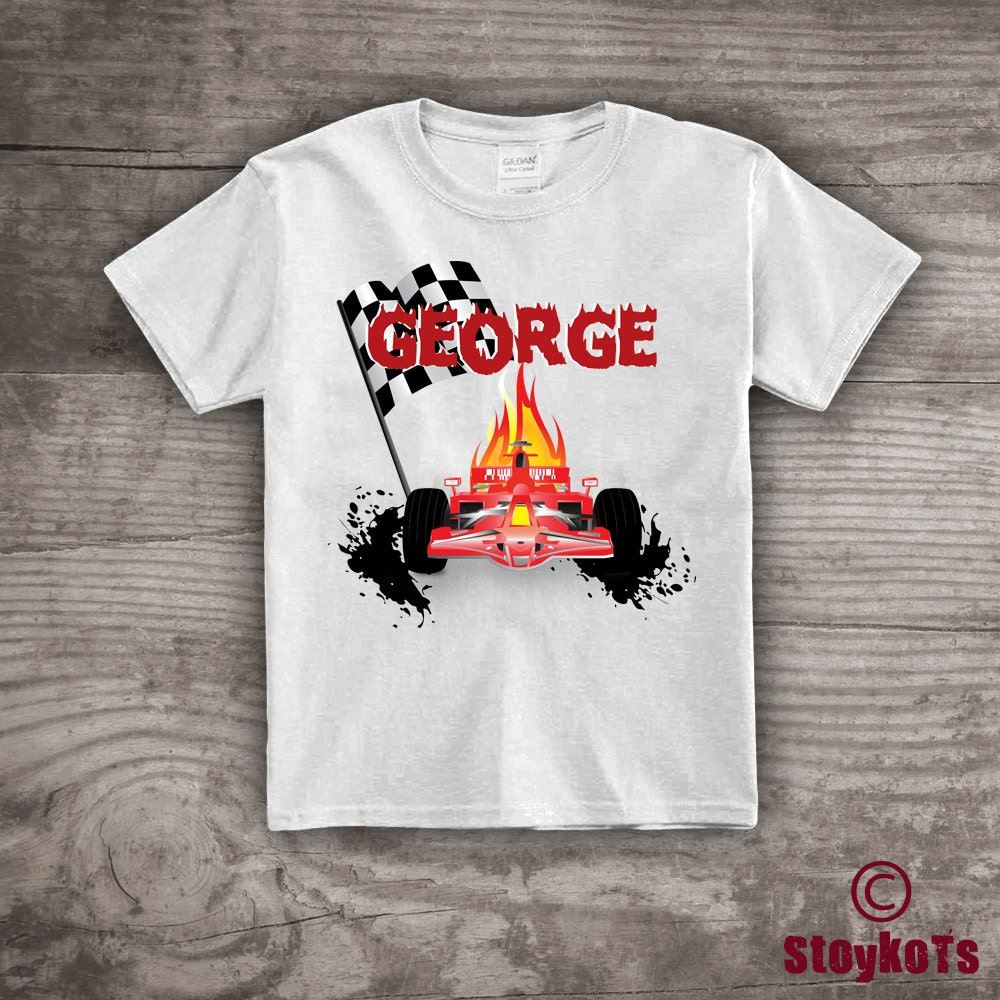 Racing car t shirt personalized name birthday gift for him for Racing t shirts custom
