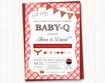 BBQ Baby Shower Invitation, Barbeque Baby Shower, Baby Q Invitation, Gender Neutral, Grill Party, Co-Ed Shower, PRINTABLE - BSU020