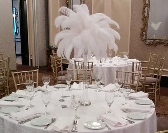 """Ostrich Feather Centerpiece Kits with 24"""" Eiffel Tower Vase"""