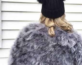 Black Fur Wool Double Pom Pom Hat Autumn Fall Winter