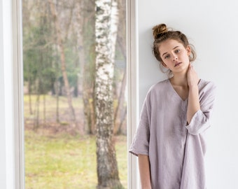 Washed linen KIMONO tunic in ashes of rose / Oversize linen dress / V neckline linen dress in ashes of rose