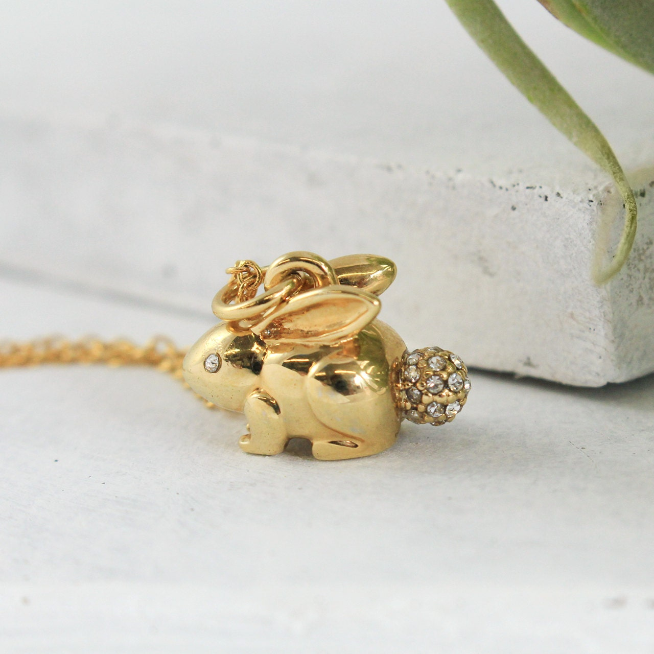 bunny rabbit necklace gold pave charm by
