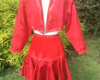 Vintage Skirt Suit Red Leather Suede And Taffetta Western Line Dancing Cowgirl Circus Horse Trainer Festival Chic c1980s 26in Waist