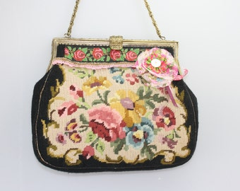 Petit point tapestry antique embroidered evening bag roses cross stitch black vintage shabby upycling chic handbag Theatre clutch boudoir