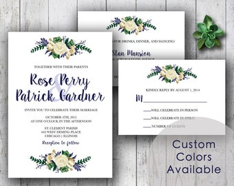 Printable Wedding Invitations, Rustic Floral Country Wedding, Printable Rustic Wedding, Flower Bouquet Wedding (Your Choice in Colors!)