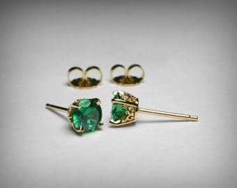 Simulated Emerald Earrings, 14K Yellow Gold, Green CZ Earrings, Green Imitation Emerald Earring Studs, May Birthstone Vintage Style Earring