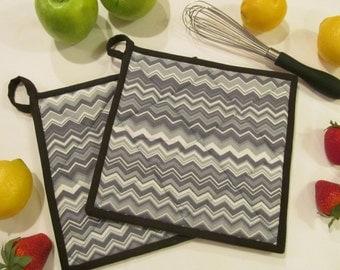 Grey Chevron Quilted Potholders/Hotpads