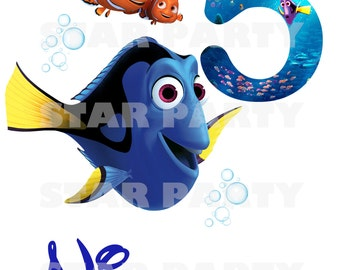 Personalized Finding Dory, Nemo, Digital Image for T shirt, Printable Iron On Transfer, Sticker custom Birthday Shirt image