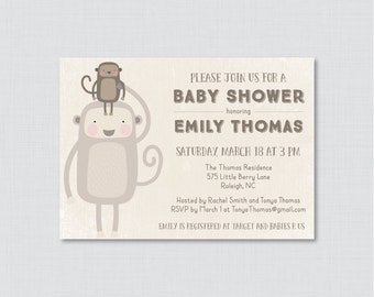 Monkey Baby Shower Invitation Printable or Printed - Monkey Themed Baby Shower Invites - Gender Neutral Baby Shower Invitation Monkeys 0040