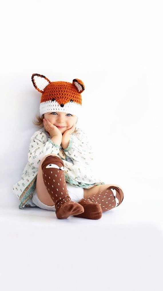 Crochet fox hat, red fox hat, halloween hat, baby fox hat, toddler fox beanie, baby girl photo prop, newborn photo prop, crochet baby hat,