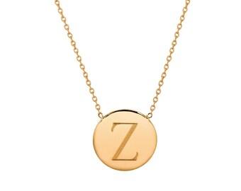 14k gold engraved disc necklace