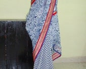 Indian Denim blue saree/indian floral  georgette saree/women fashion sarees/blue shades floral saree/free gift included