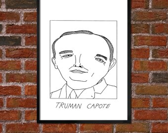 Badly Drawn Truman Capote - Literary Poster - *** BUY 4, GET A 5th FREE***