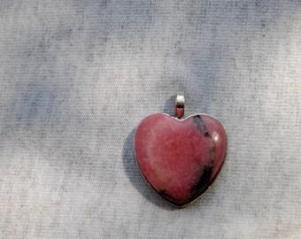 Rhodonite Stone Heart Pendant