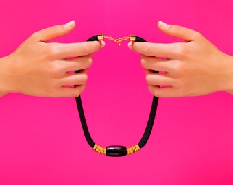 Black Statement Necklace, Black Necklace, Statement Necklace, Black Rope Necklace, Black Rope, Rope Necklace, Black And Gold Necklace