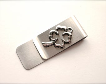 Shamrock Money Clip, Stainless Steel Money Clip, Four Leaf Clover Money Clip, Gift for Groomsman, Best Man, Graduate, Father's Day