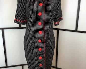 Polka Dot Dress, Women's Vintage Dress, 1980s Wiggle Dress, Sunshine Starshine, Fitted Black Dress, Size Large