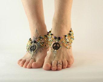 Colorful Peace Barefoot Sandals, Barefoot Jewelry, handmade hemp jewelry, earthing, dance, yoga, gypsy, foot jewelry, accessories, teen gift