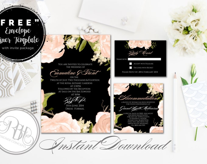 Peach Invite-Information Card-Reply Card-Envelope Liner-Templates-INSTANT DOWNLOAD-DIY Editable Text-Peach Peonies Roses-Nadine
