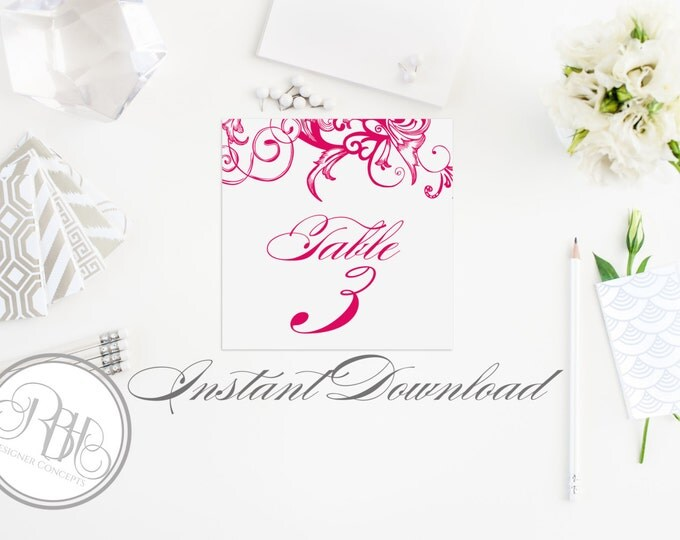 """Fuchsia Pink Table Number Template-Instant Download PDF DIY Editable Text Only- Elegant Floral Fuchsia Swirl DIY Printable-Helen in Fuchsia"""""""