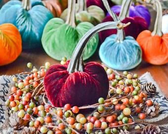 1 Small Merlot Silk Velvet Pumpkin, Fall Decor, Table Centerpiece, Homemade Rustic Decoration
